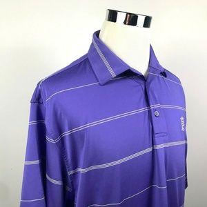 FootJoy Mens XL Golf Polo Shirt Purple Striped